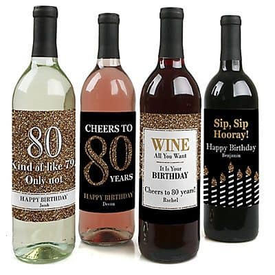 Personalized 80th Birthday Wine Bottle Labels - Dress up your bar with these striking waterproof wine bottle labels.  Just peel and stick!