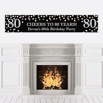 Personalized Cheers to 80 Years Banner