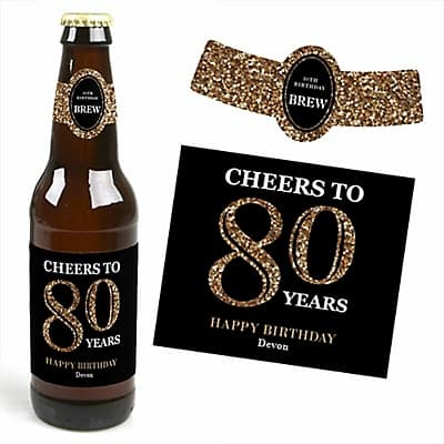 80th Birthday Beer Bottle Labels - Impress your guests with these fun personalized Cheers to 80 Years Beer bottle labels!