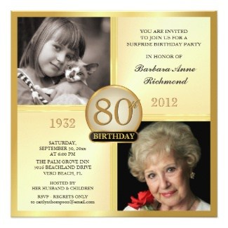 80th Birthday Photo Invitations Then Now 2 Party Invites