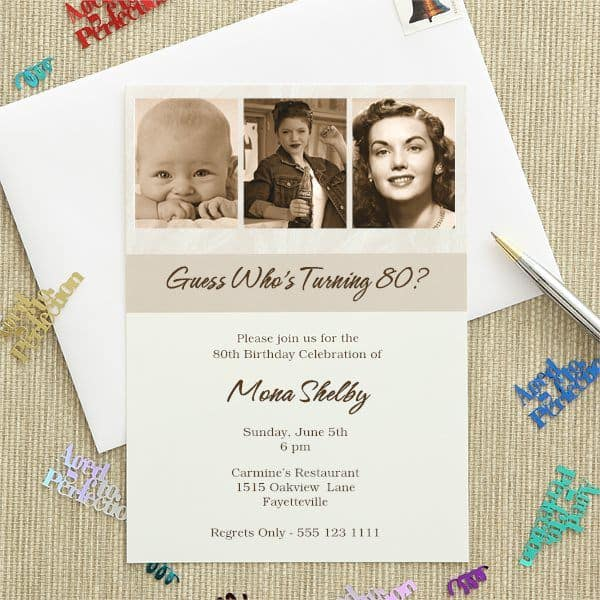 3 Photo 80th Birthday Celebration Invitations