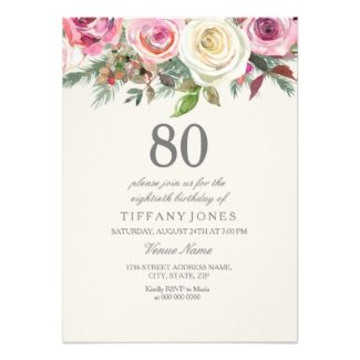 80th Birthday Floral Party Invitations