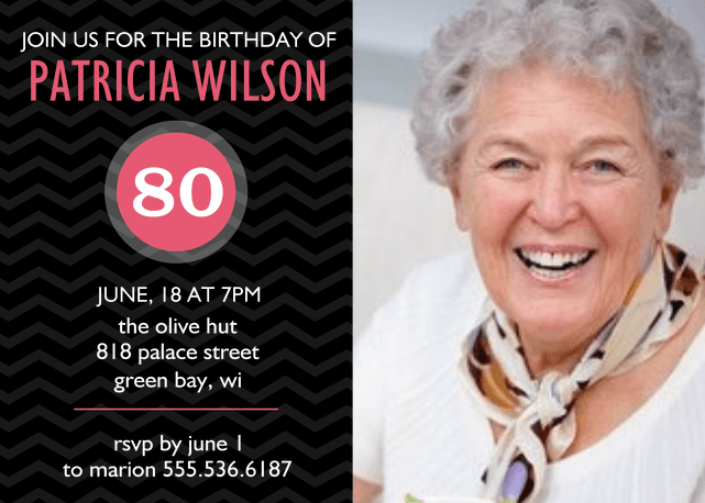 Pink and Black 80th Birthday Invite with 1 Picture
