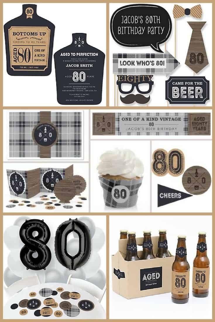 "80th Birthday Ideas for Men - Love this fun ""Aged to Perfection"" 80th birthday party theme!  It's so easy to order everything you need online...click for details!"