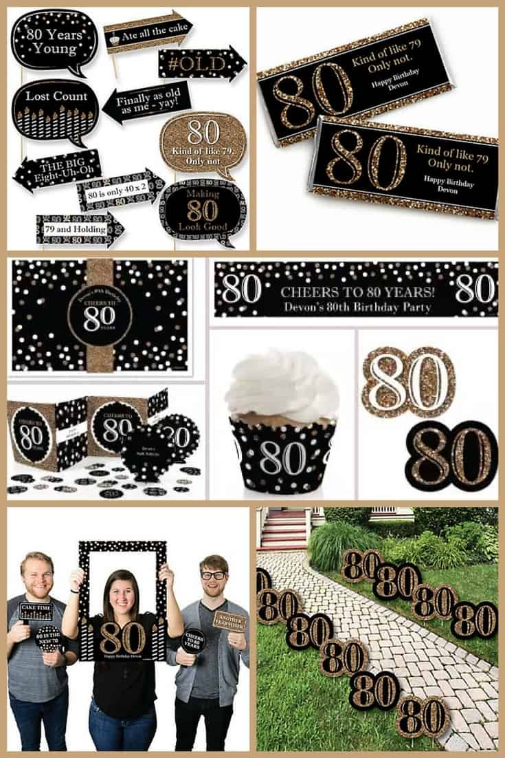 80th Birthday Party Ideas - Festive black and gold 80th birthday party supplies work well for either men or women.  It's so easy to impress your guests with this fun 80th birthday celebration theme...click through for details!