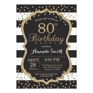 Black & Gold Glittery Stripes Invitation for Women