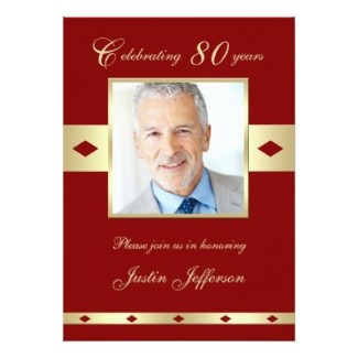 Celebrating 80 Photo Invitations - Choice of 4 Colors