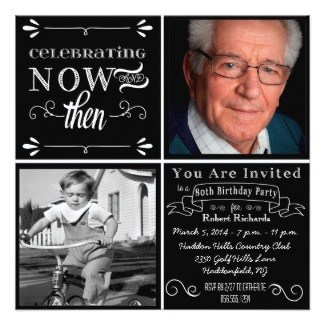 80th Birthday Chalkboard Then & Now Photo Invitations