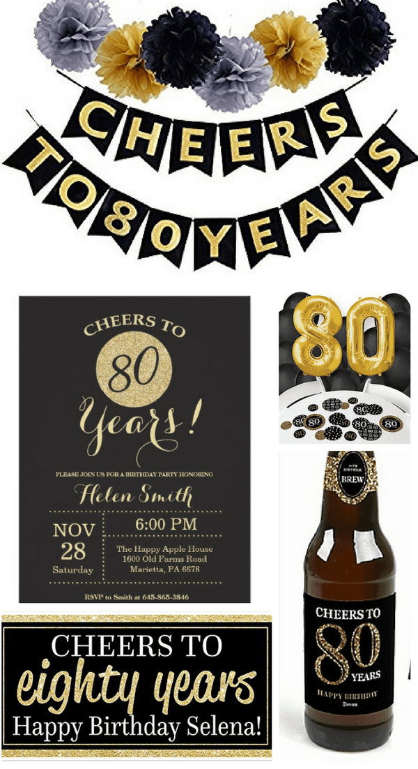 cheers to 80 years black and gold party theme