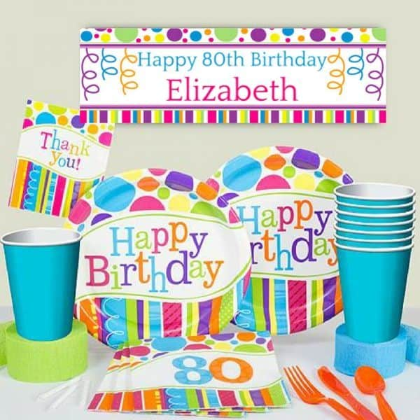 80th Birthday Party Ideas - How cheerful are these bright 80th birthday party decorations?  Add a splash of color to your favorite senior's 80th birthday celebration!