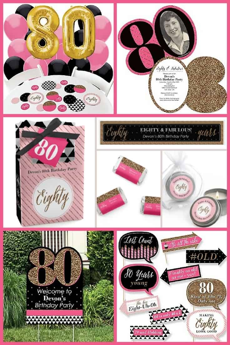 80th Birthday Party Ideas for Women - How fun is this pink, black and gold party theme?  It's so easy to pull together too...you can order just about everything you need online!