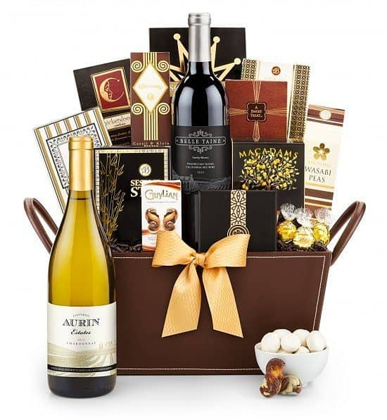 80th Birthday Gift Baskets for Dad - Impress Dad on his big day with an elegant gift basket that's full of delicious treats.  Add a bottle or two of wine for an extra-special treat@