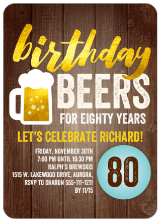 Cheers & Beers to 80 Years Party Invitations