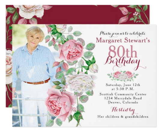80th Birthday Floral Photo Invitation