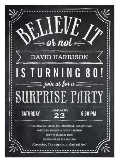 White And Gold Surprise 80th Birthday Invitation Chalkboard Party Invitations