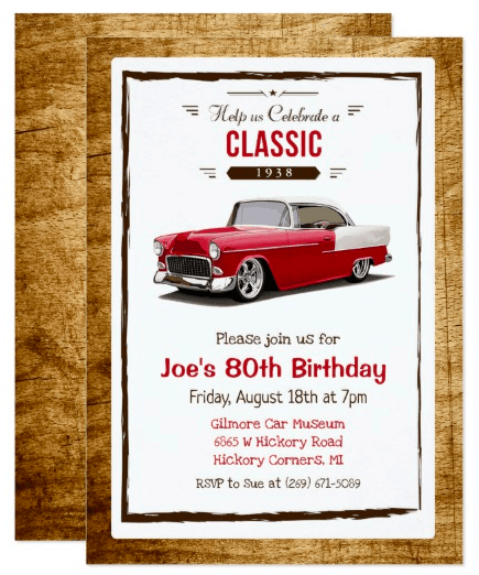 Classic Car 1938 Birthday Invite for a Man