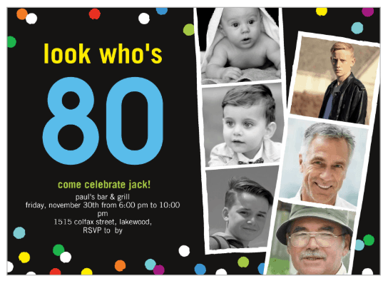 80th Birthday Invitations With 6 Photos