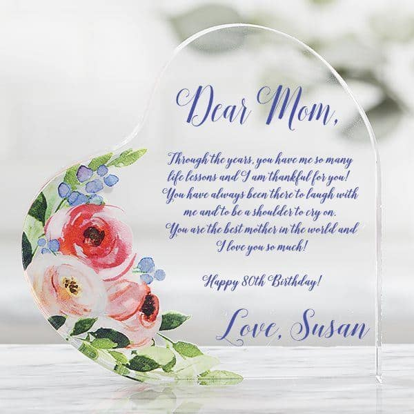 Personalized 80th Birthday Floral Keepsake Gifts For Mom