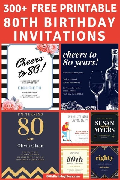 Looking for free printable 80th birthday invitations?  Choose from over 300 fun templates!  Easily design your own 80th birthday invitations and print them at home - a fabulous way to save money on party supplies!  #80thBirthdayIdeas.com #invitations #birthdayparty