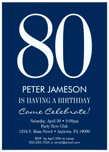 Mens Party Invite Father Veteran Husband Navy Blue And White Modern Invitations