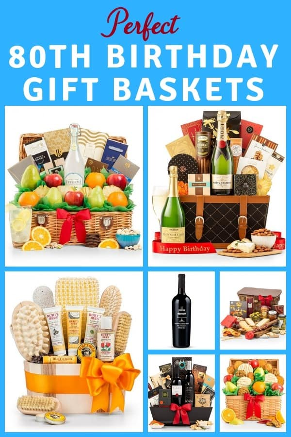80th Birthday Gift Baskets - Impress Mom, Dad or another man or woman who's turning 80 with an amazing gift basket!  Click to see the best 80th birthday gift baskets.  #80thBirthdayIdeas.com #birthday #giftbaskets
