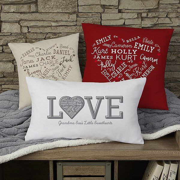 Personalized heart of love pillow is a wonderful gift for Mom, Grandma or another special lady  Add family names or meaningful words to create a unique present she'll love!