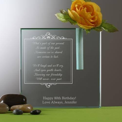Personalized 80th Birthday Flower Vase - Add her favorite flowers to this beautiful personalized vase to create a memorable 80th birthday present any woman would love!