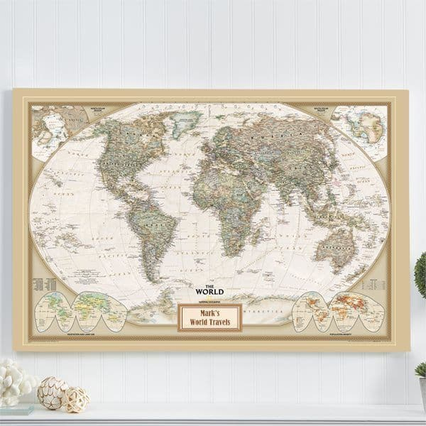 "Unique gift for travelers - Anyone with a passion for traveling will love this striking ""Pin Your Journeys"" personalized map."