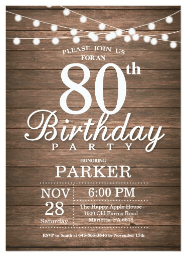 Sample Invitation Wording Ideas 80th Birthday Celebration