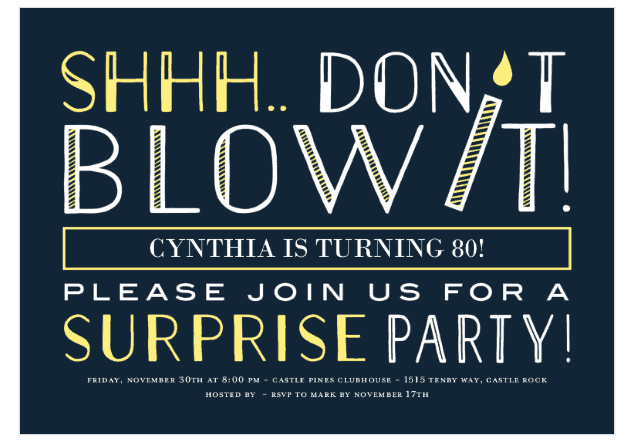 Floral 80th Birthday Surprise Party Invitation Funny