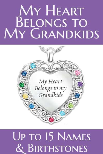 Grandmother Jewelry - Thrill the grandmother who treasures her grandkids with this striking personalized birthstone necklace!  Sparkling sterling silver heart-shaped pendant features up to 15 birthstones on the front and 15 names on the back.  #giftsforher #jewelry #80thBirthdayIdeas.com