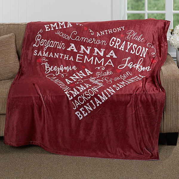 Personalized 80th Birthday Gifts - Delight Grandma, Mom or another special lady on her 80th birthday with this gorgeous blanket that's personalized with up to 21 names or meaningful words.  A sentimental 80th birthday gift for her that she will enjoy using every day!  Click to see this design on other gifts as well.  #giftsforher