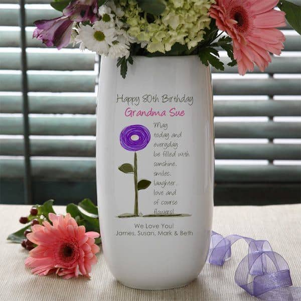 80th Birthday Flower Vase - Surprise Grandma or another special lady who is turning 80 with this beautiful personalized flower vase!  Write your own loving message, or choose from pre-written verses.  Just add her favorite flowers and you've created a gift she'll treasure for years to come!  #80thBirthdayIdeas #birthdayflowers #80thBirthday