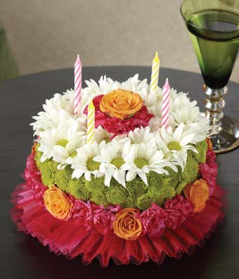 80th Birthday Flower Cake - Every birthday deserves a cake and flowers!  Combine both into a special gift that is sure to impress.  #80thBirthdayIdeas #80thBirthday #birthdaygiftideas