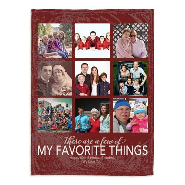 Unique Birthday Gift for 80 Year Old - Delight your favorite senior with a super-cuddly personalized blanket that features pictures of their favorite people and memories.  A sentimental 80th birthday gift he or she will love!  #80thBirthdayIdeas #80thBirthday #gifts