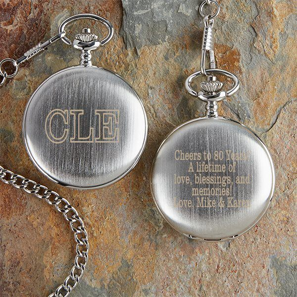 GIfts for 80 Year Old Men - Impress Dad, Grandpa or another favorite senior who is turning 80 with a personalized pocket watch!  Engrave your own birthday greeting on the cover for a sentimental gift he'll treasure.  #80thBirthdayIdeas #80thBirthday #giftsforhim