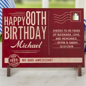 Personalized  80th Birthday Wood Postcard  - 2 Colors