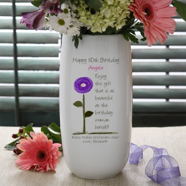 Birthday Gifts for 80 Year Old Woman - Delight Mom, Grandma or another special lady with a personalized vase full of her favorite flowers.  She'll enjoy using the vase long after her birthday is over.  #80thBirthdayIdeas #80thBirthday #birthdaygifts