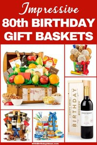 80th Birthday Gift Baskets - Treat your favorite 80 year old to an impressive and delicious gift basket! Click to see the best selection of gift baskets for 80 year olds...prices start at under $25. #80thBirthdayIdeas #giftbaskets #birthdaygifts