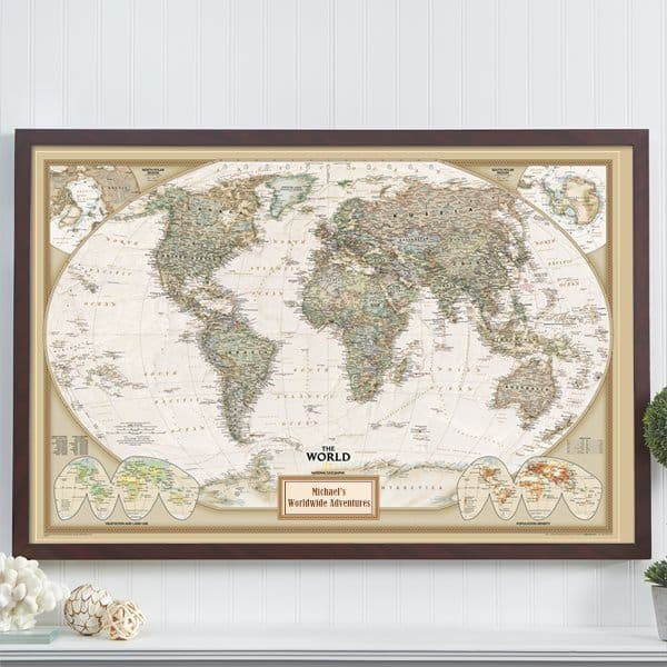 Personalized Travel Map - Looking for a fabulous gift for the traveller? Impress them with this stunning personalized map! They can pin their past journeys and future trips. A wonderful milestone birthday, retirement or anniversary gift for anyone who enjoys travelling. #80thBirthdayIdeas #giftideas #birthdaygifts