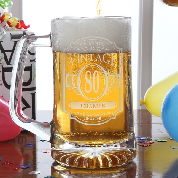 Looking for a fun yet inexpensive gift for your 80 year old grandpa? Delight him with this striking personalized 80th birthday beer mug! Priced at under $25, it's a unique 80th birthday gift that he'll enjoy long after his birthday is over. Click to see more great 80th birthday gifts for grandpa. #80thBirthdayIdeas #birthdaygifts #grandpagifts