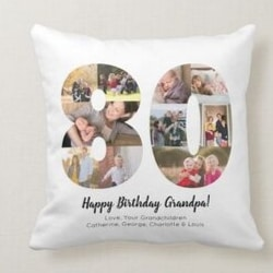 Personalized 80th Birthday Pillow