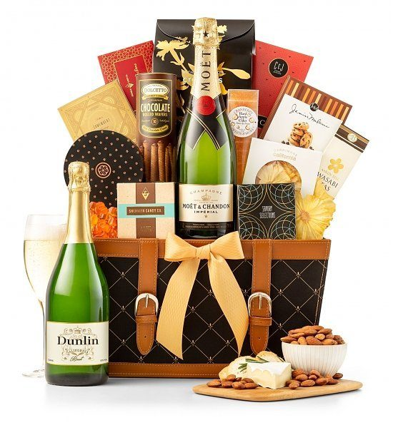 Birthday Champagne Gift Basket - Impress a special man or woman with this striking champagne gift basket!