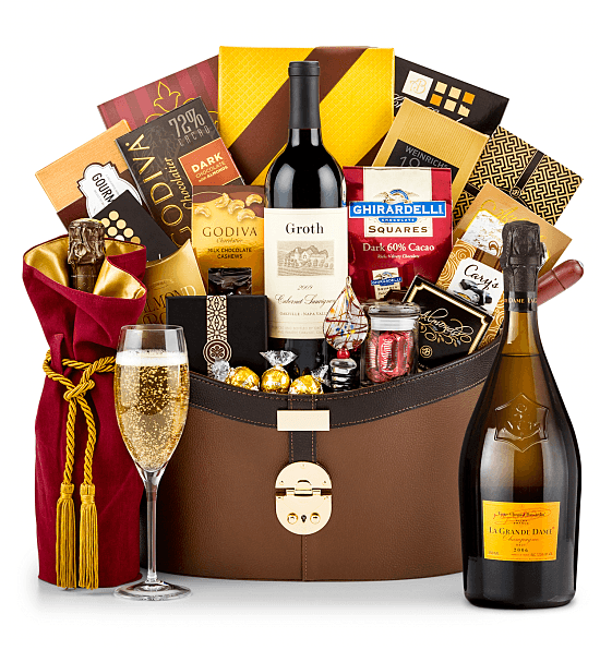 Champagne Gift Basket is an impressive and memorable gift for any milestone birthday!