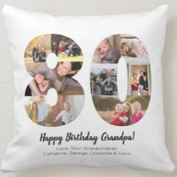 80th Birthday Pillow with Photo Collage