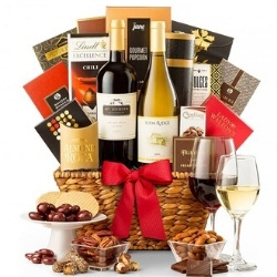 80th Birthday Wine Gift Basket  - Add a Personalized Ribbon