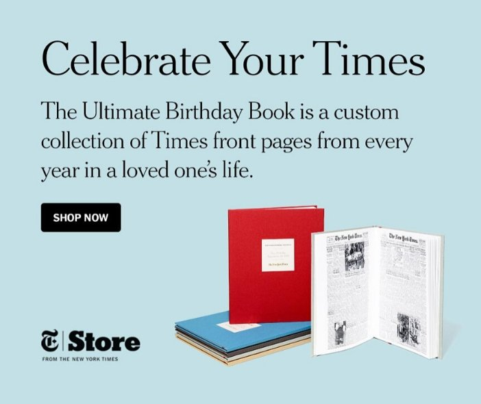 Best 80th Birthday Gift Ideas - Looking for a unique birthday gift for 80 year old? Impress him or her with The New York Times Ultimate Birthday book...every birthday front page from all 80 years!