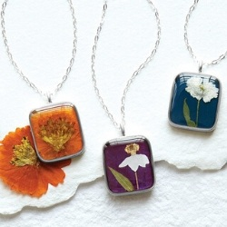 Birth Month Flower Necklace with Real Dried Flowers