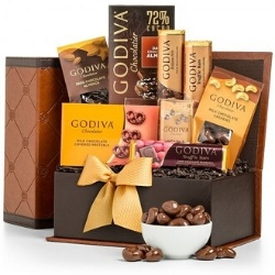 Godiva Chocolate Gift Basket with Optional Personalized Ribbon
