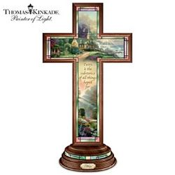Illuminated Thomas Kinkade Stained Glass Hope Cross